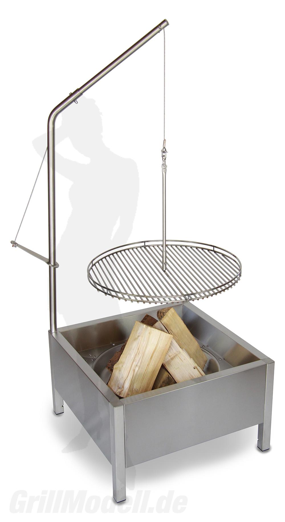 Schwenkgrill aus Edelstahl für Holzkohle und Echtholz 650