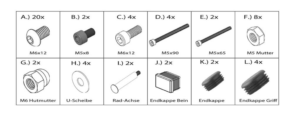 Holzkohlegrill Edelstahlgrill Aufbau - Bausatz Kleinteile