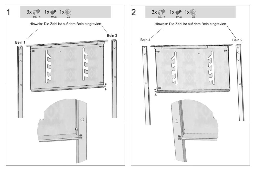 Holzkohlegrill Edelstahlgrill Aufbau - Montage Schritte 1 und 2