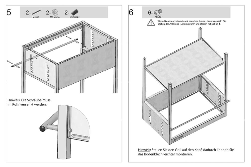 Holzkohlegrill Edelstahlgrill Aufbau - Montage Schritte 5 und 6