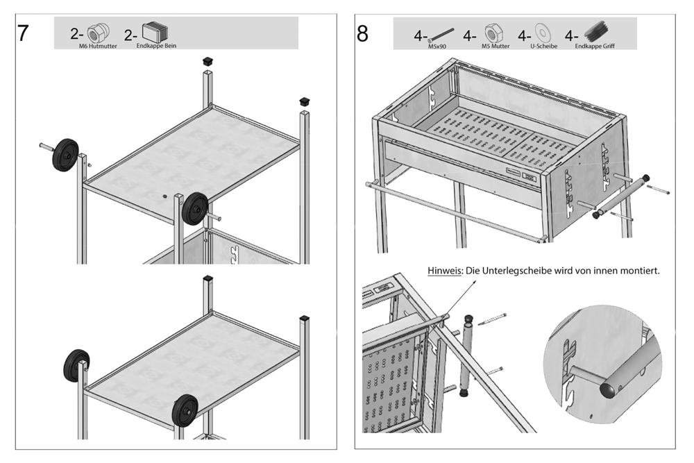 Holzkohlegrill Edelstahlgrill Aufbau - Montage Schritte 7 und 8