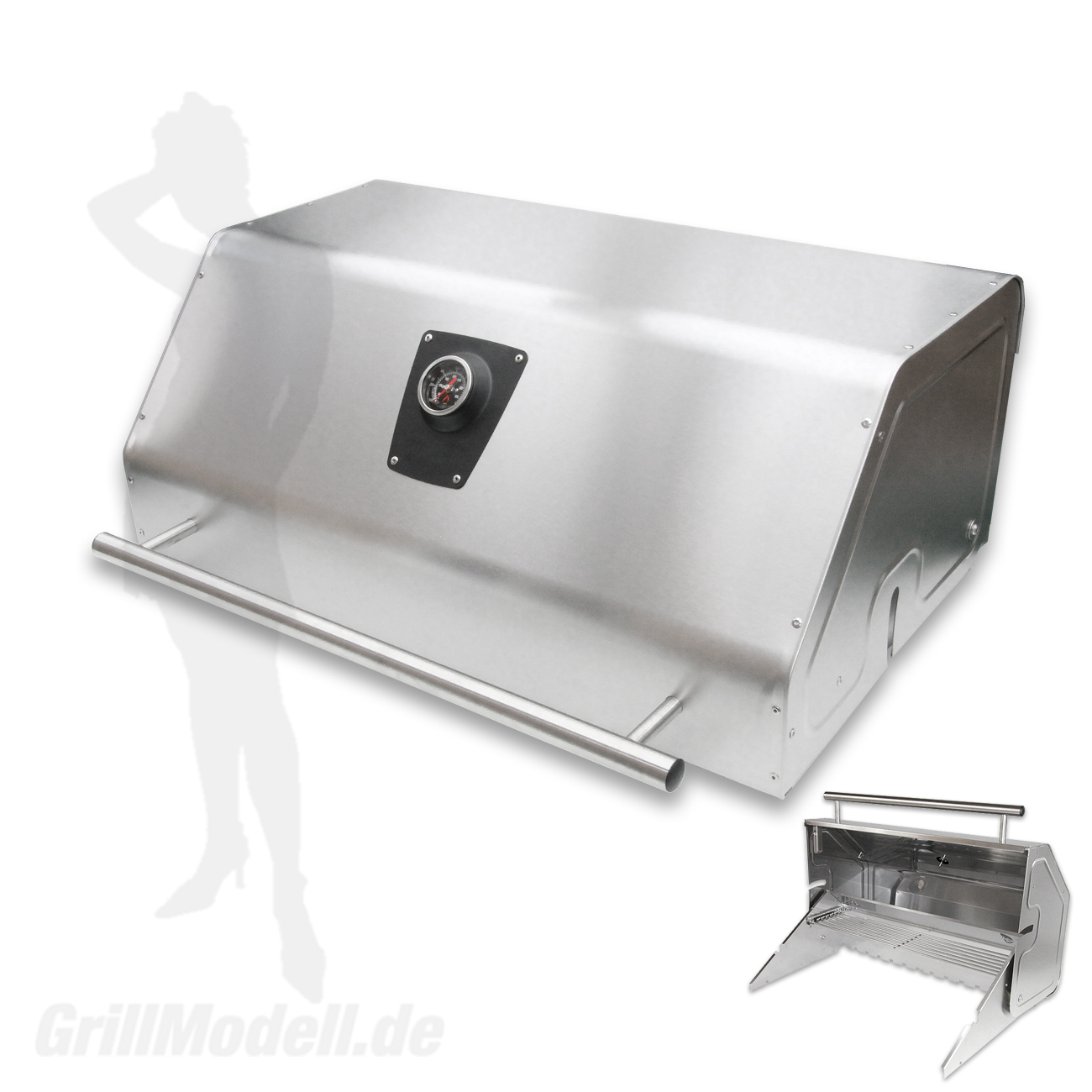 Edelstahl Grillhaube für Edelstahlgrill Holzkohlegrill Edelstar XL