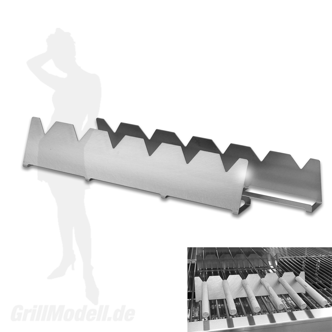 Spießhalter aus Edelstahl für Edelstahlgrill Holzkohlegrill