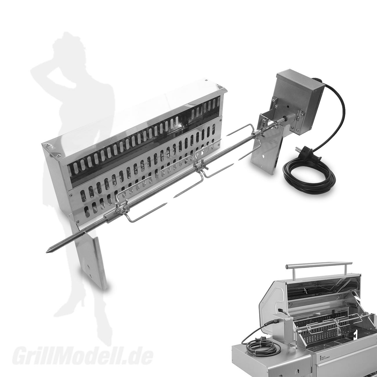 Elektrische Spießvorrichtung für Edelstahlgrill Holzkohlegrill Edelstar L