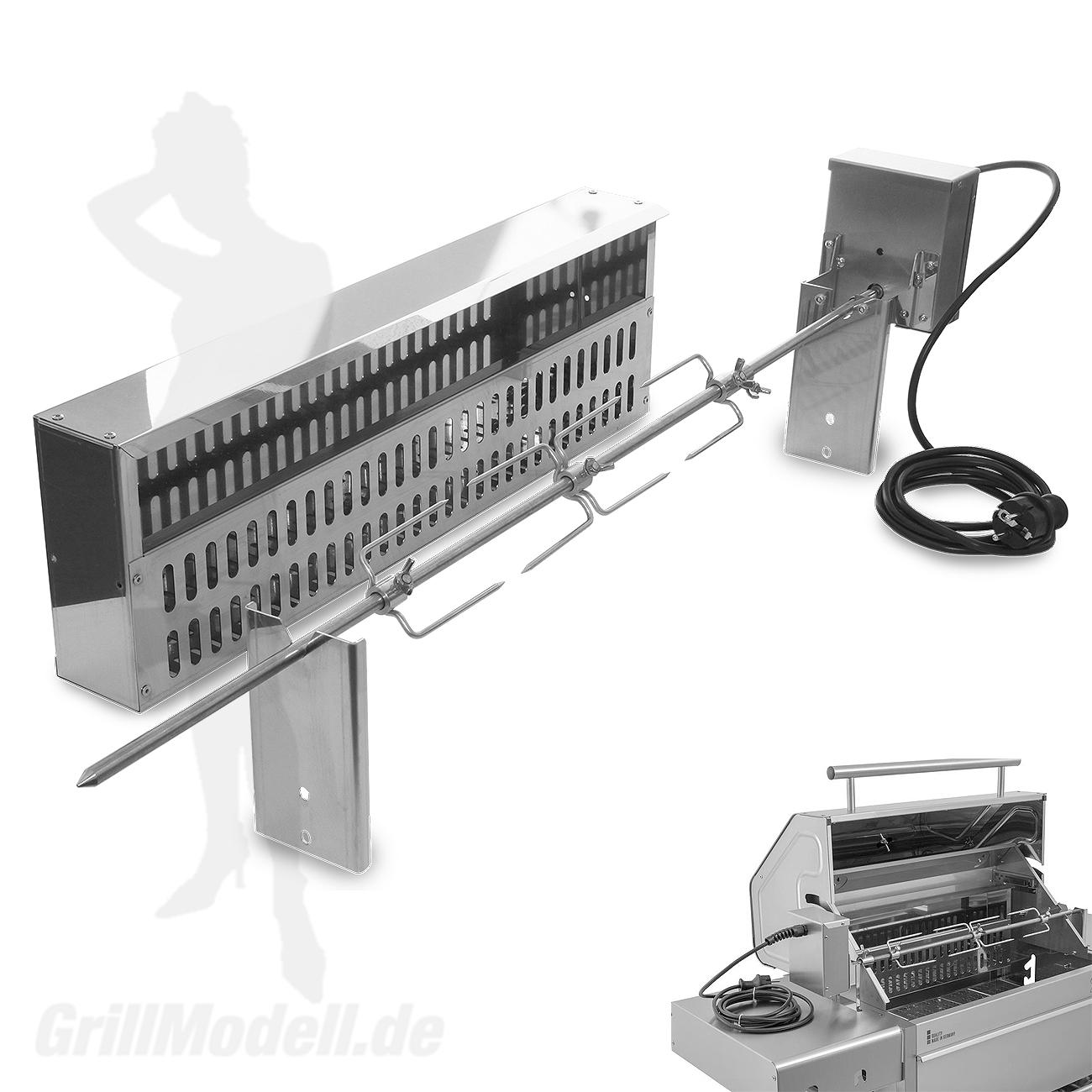 Elektrische Spießvorrichtung für Edelstahlgrill Holzkohlegrill Edelstar XL