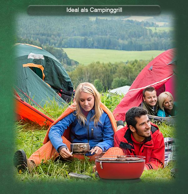 Der Holzkohle Tischgrill ist der ideale Begleiter beim Camping