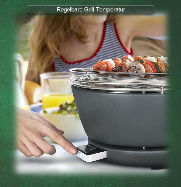 Das Lüftermodul im Holzkohle Tischgrill sorgt für die gewünschte Grill-Temperatur