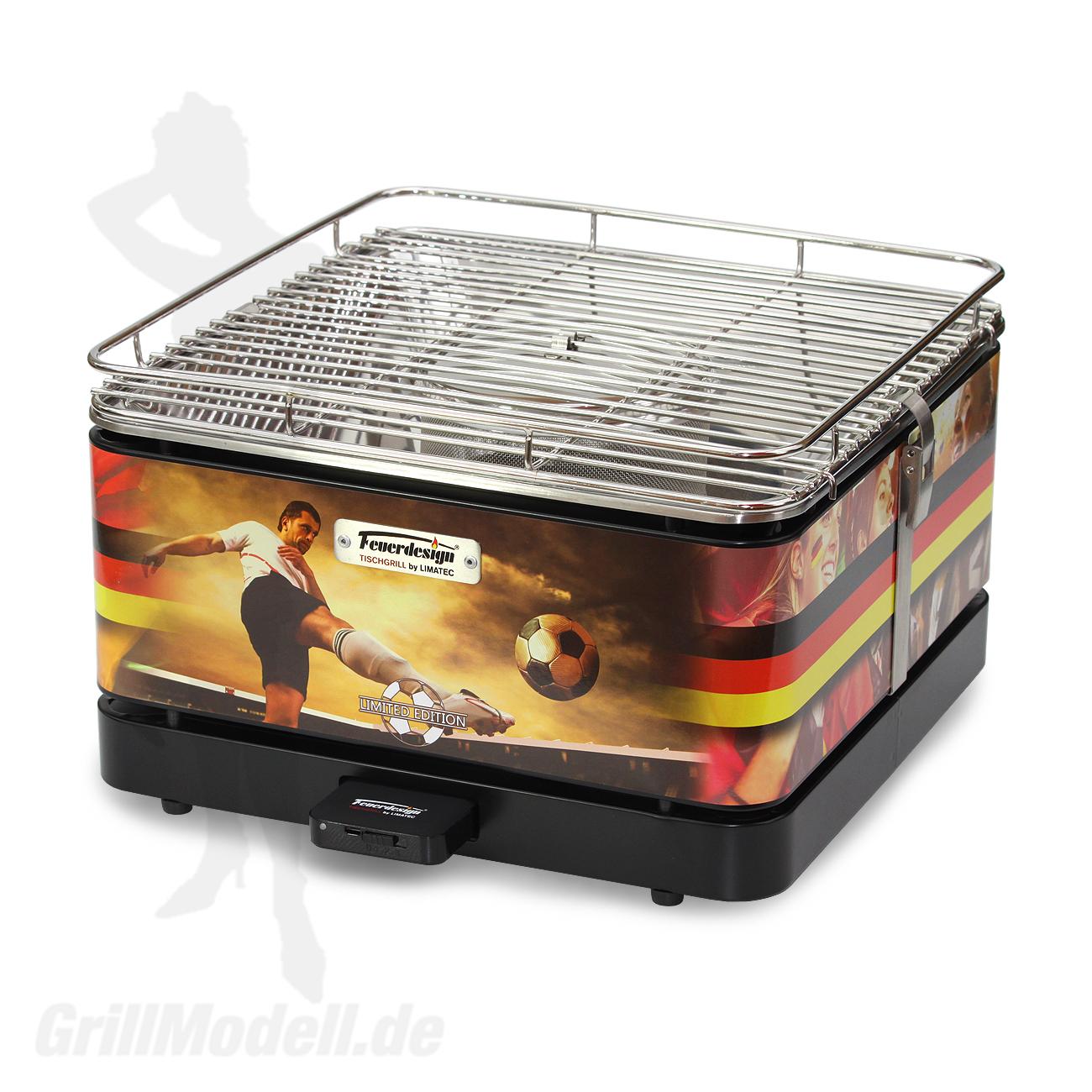 Holzkohle Tischgrill von Feuerdesign - Sondermodell Teide Fussball Deutschland