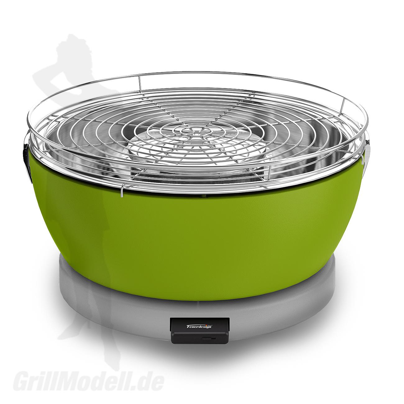Holzkohle Tischgrill von Feuerdesign - Modell Vesuvio in Farbe Grün