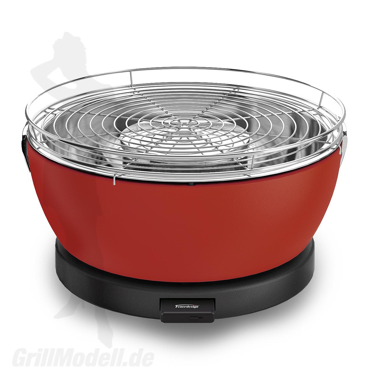 Holzkohle Tischgrill von Feuerdesign - Modell Vesuvio in Farbe Rot