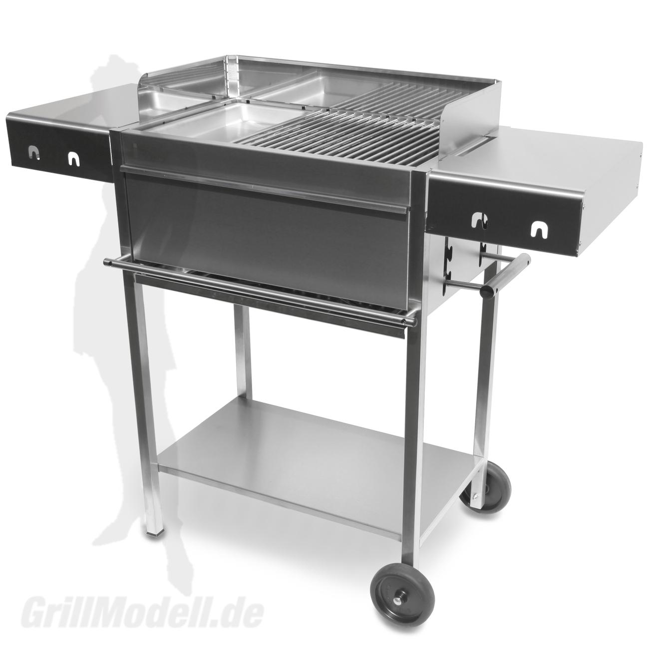 Holzkohlegrill Edelstahlgrill Edelstar L Gourmet komplett aus Edelstahl mit Grillplatte