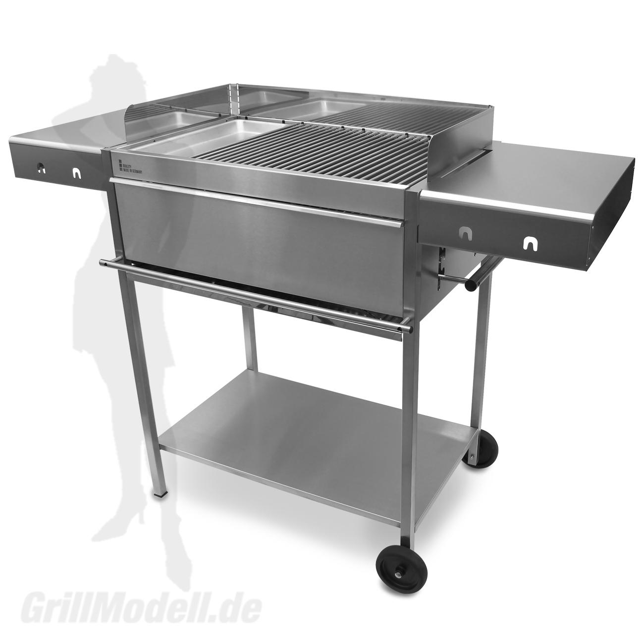 Holzkohlegrill Edelstahlgrill Edelstar XL Gourmet komplett aus Edelstahl