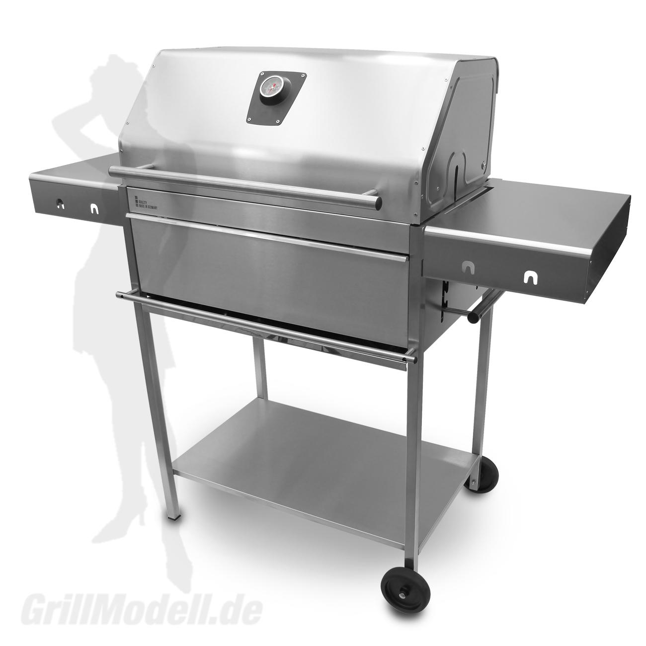 Holzkohlegrill Edelstahlgrill Edelstar XL Profi komplett aus Edelstahl mit Grillhaube