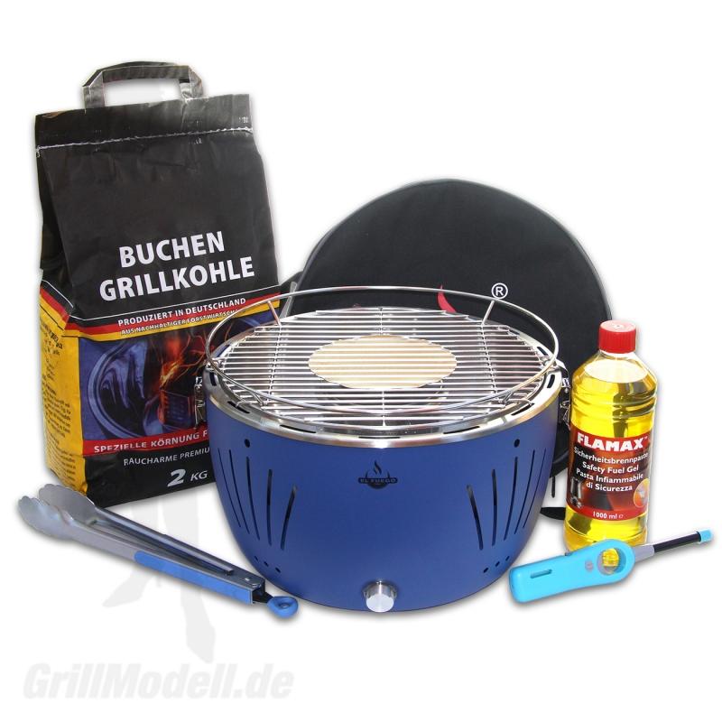 Holzkohle-Tischgrill Komplett-Set - TULSA Blau