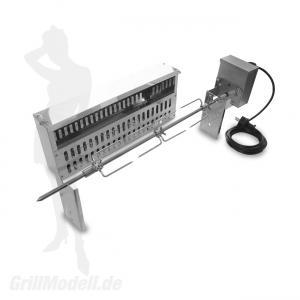 Spiessvorrichtung mit Motor und Glutkasten für EDELstar L Grill